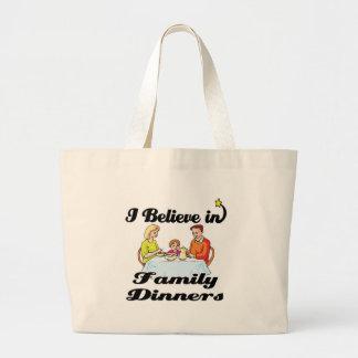 i believe in family dinners jumbo tote bag