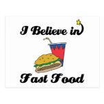 i believe in fast food postcard