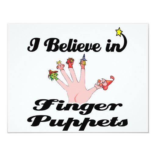 i believe in finger puppets 4.25x5.5 paper invitation card
