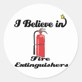 i believe in fire extinguishers classic round sticker