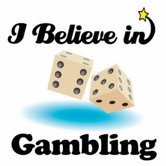 i believe in gambling standing photo sculpture