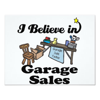 i believe in garage sales 4.25x5.5 paper invitation card