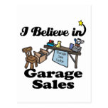 i believe in garage sales postcards