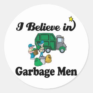 i believe in garbage men classic round sticker