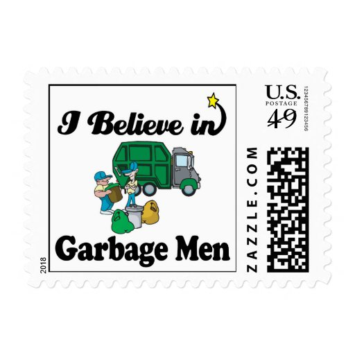 i believe in garbage men stamps