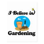 i believe in gardening postcard