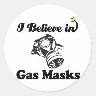 i believe in gas masks round sticker