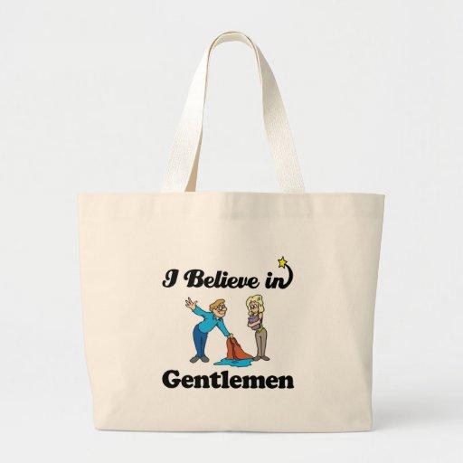 i believe in gentlemen tote bags