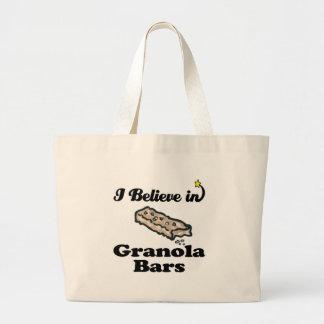 i believe in granola bars canvas bag