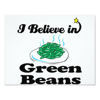 i believe in green beans 4.25x5.5 paper invitation card