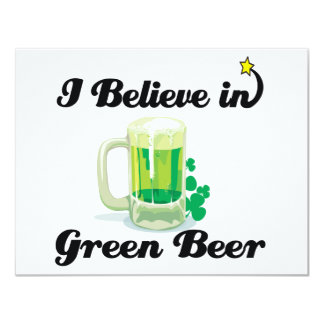 i believe in green beer 4.25x5.5 paper invitation card