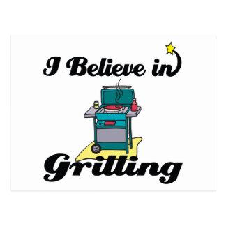 i believe in grilling postcard