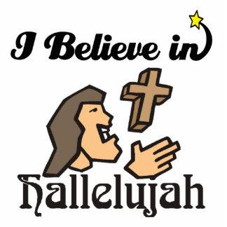 i believe in hallelujah standing photo sculpture