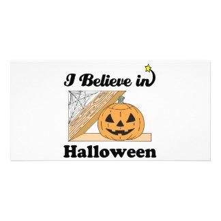 i believe in halloween photo card