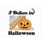 i believe in halloween postcard