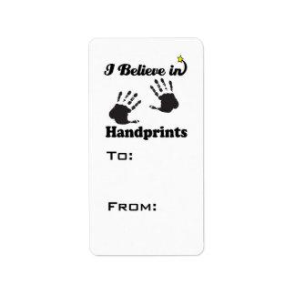 i believe in handprints custom address labels