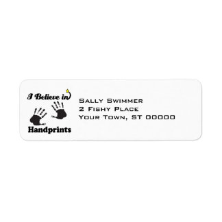 i believe in handprints return address label