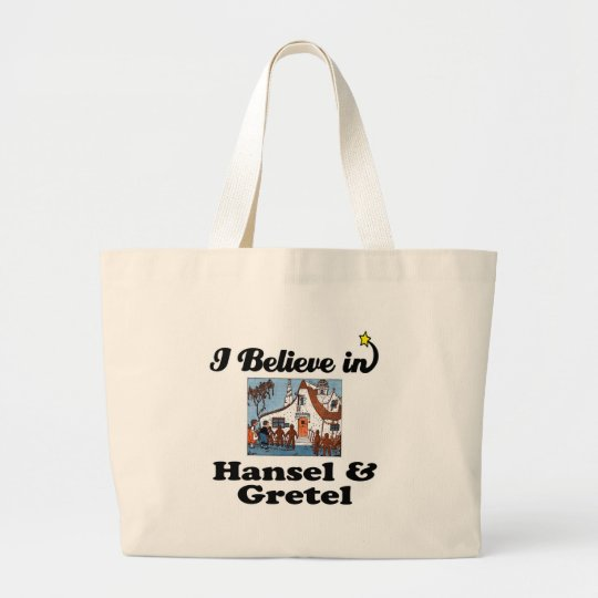i believe in hansel and gretel large tote bag