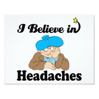"""i believe in headaches 4.25"""" x 5.5"""" invitation card"""