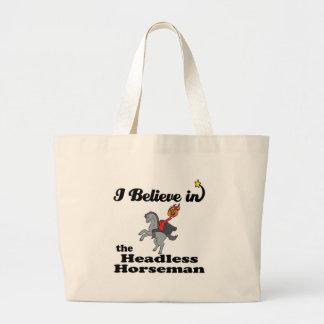 i believe in headless horseman jumbo tote bag