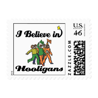 i believe in hooligans postage stamps