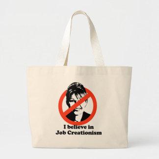 I believe in job creationism jumbo tote bag