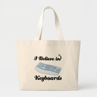 i believe in keyboards large tote bag