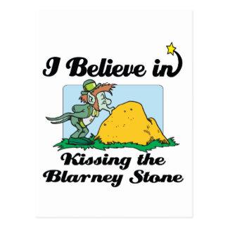 i believe in kissing the blarney stone postcard