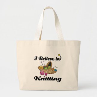 i believe in knitting canvas bag