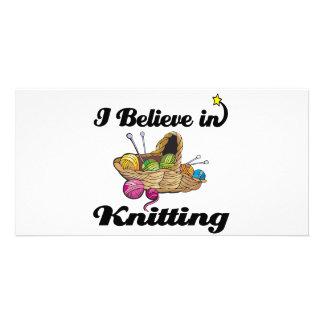 i believe in knitting custom photo card
