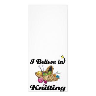 i believe in knitting custom rack card