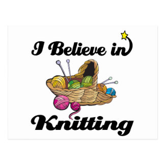 i believe in knitting postcard