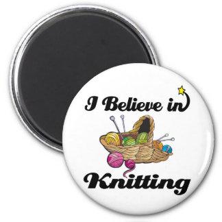 i believe in knitting refrigerator magnet