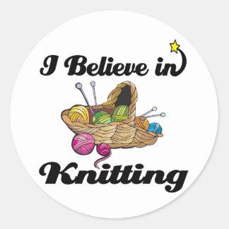 i believe in knitting round sticker