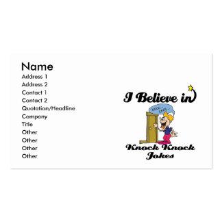 i believe in knock knock jokes business card