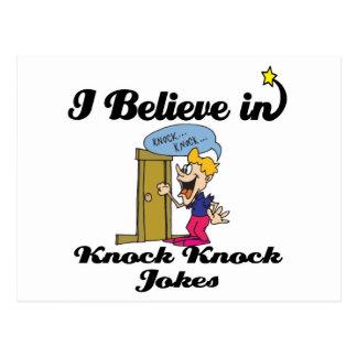 i believe in knock knock jokes postcard