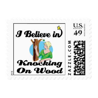 i believe in knocking on wood stamp