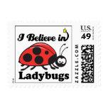 i believe in ladybugs postage stamp