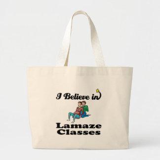 i believe in lamaze classes tote bag
