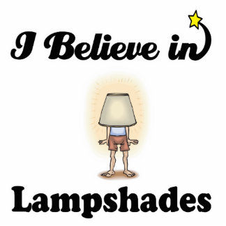 i believe in lampshades standing photo sculpture