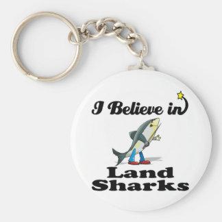 i believe in land sharks basic round button keychain