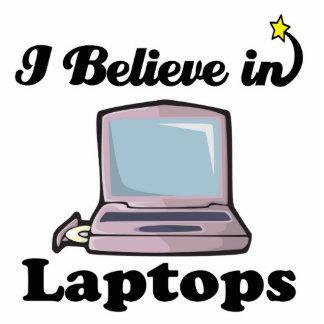 i believe in laptops standing photo sculpture