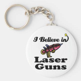 i believe in laser guns basic round button keychain