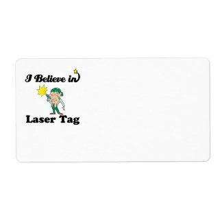 i believe in laser tag personalized shipping labels