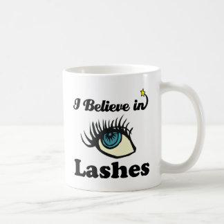 i believe in lashes mug
