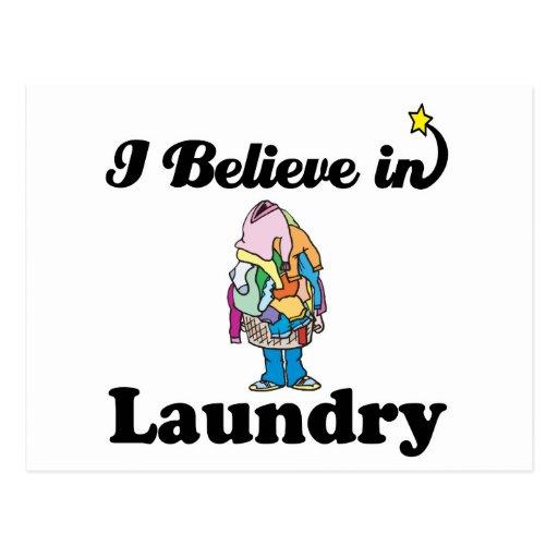 i believe in laundry postcard