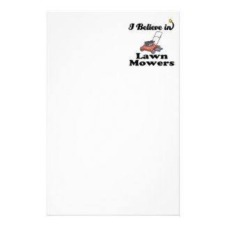 i believe in lawn movers stationery design