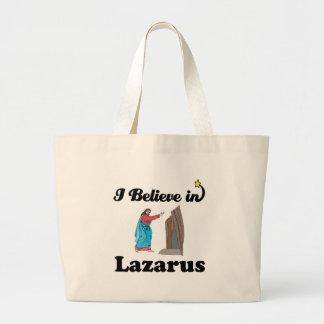 i believe in lazarus jumbo tote bag
