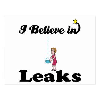 i believe in leaks postcard
