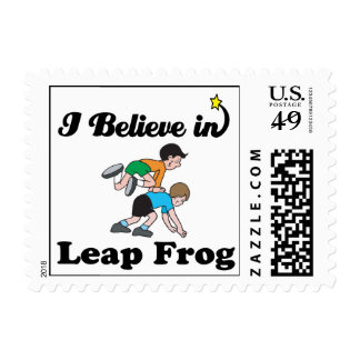 i believe in leap frog postage stamps
